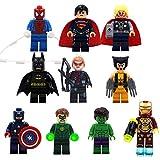PETON 10 Psc Avengers Endgame Mini Figure Toy Set - Iron Man, Thor, Hulk, Captain America, Superman, Batman, Hawkeye, Wolverine, Green Lantern Toys Minifigures Building Blocks