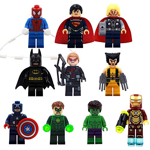 PETON 10 Psc Avengers Endgame Mini Figure Toy Set - Iron Man, Thor, Hulk, Captain America, Superman, Batman, Hawkeye, Wolverine, Green Lantern Toys Minifigures Building Blocks