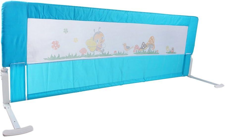150cm//180cm Barandilla de La Cama Guardia de Seguridad para Ni/ños Barandilla Plegable de La Cama Infantil 150cm, Azul