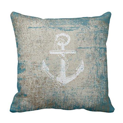 Emvency Throw Pillow Cover Summer Nautical Anchor Distressed Beach Decorative Pillow Case Home Decor Square 20 x 20 Inch Pillowcase