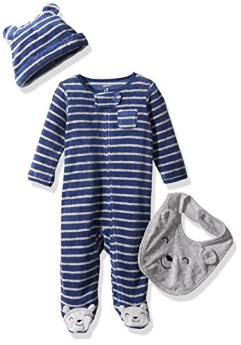 Carter's Baby Boys' 3 Piece Sets, Blue/White Stripe, (New Designer Baby Clothing)