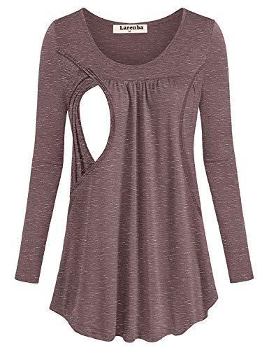 Larenba Plus Size Breastfeeding Clothes Womens Long Sleeve Round Neck Nursing Blouses (Wine,XX-Large)