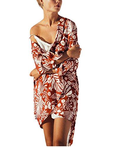 Bsubseach Women Red Leaf Print Long Sleeve Swimwear Bikini Cover Up Rayon Beach Kimono (Red Leaf Print)