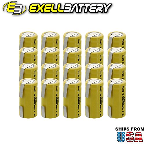 20x Exell 2/3AA 1.2V 400mAh NiCD Rechargeable Batteries with Tabs for mobile phones, pagers, medical instruments/equipment, electric tools and toys, electric razors, toothbrushes, meters, radios