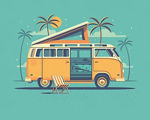 """DKNG Laguna (20""""x16"""" VW Bus, Beach Camper, Silkscreen Art Print/Poster)"""