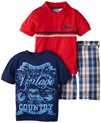 Little Rebels Little Boys' 3 Piece Motorcyle Short Set, Red, 4