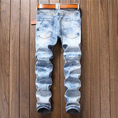 Bassa Old Especial Marchio Fold Pantaloni Uomo Di Leaky Base Estilo In Pants Modelli Straight Hole Hellblau Jeans Vita Nen qgpYq6
