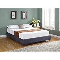 Home Life Cloth Charcoal Linen Chinese Non Headboard Platform Bed with Slats, Twin, Blue