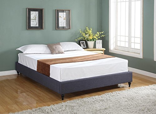 Lowest Price! Home Life Cloth Charcoal Linen Chinese Non Headboard Platform Bed with Slats, Queen, B...