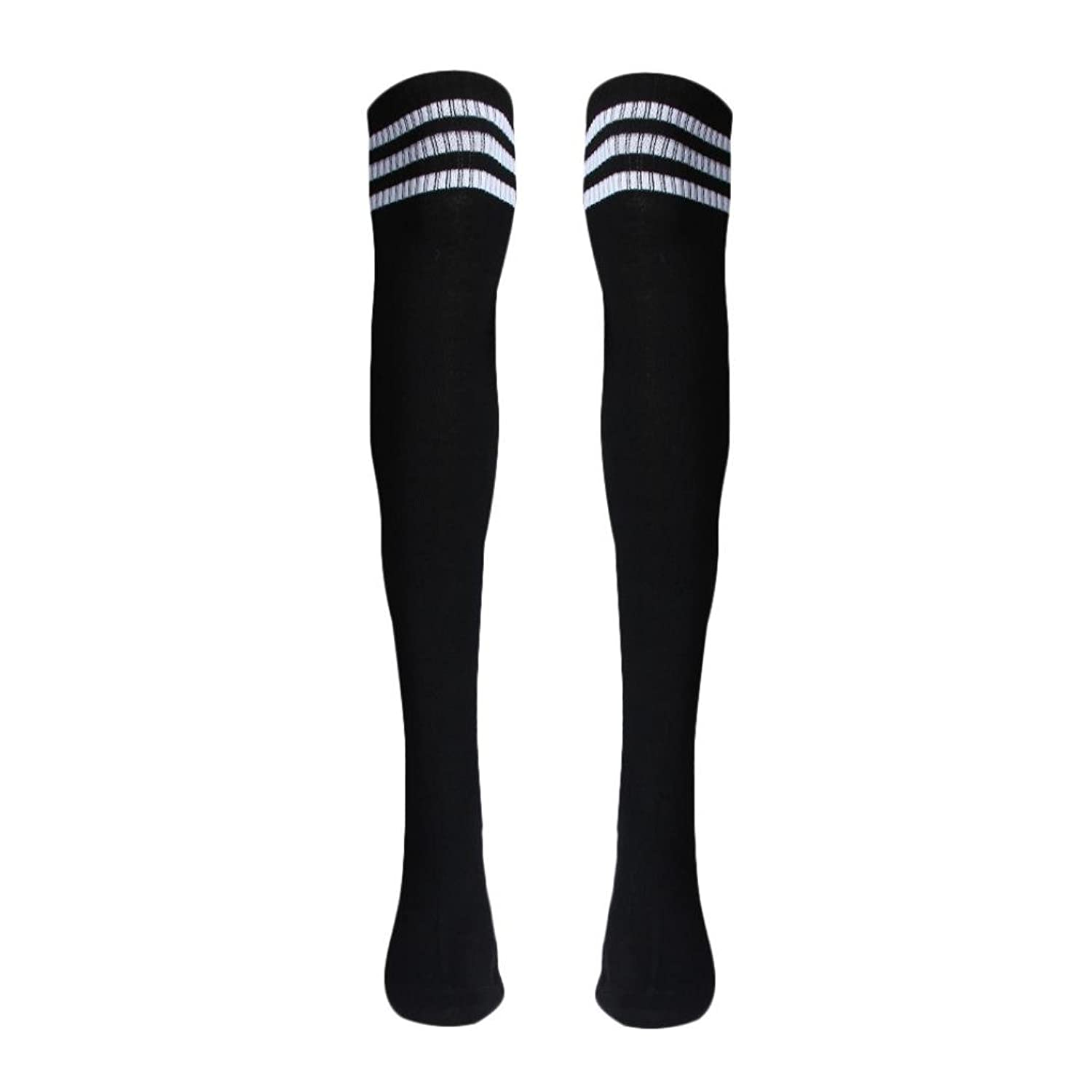 Inkach(TM)1 Pair Thigh High Socks Over Knee Girls Football Socks Black