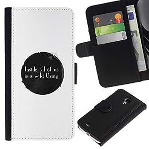 All Phone Most Case / Oferta Especial Cáscara Funda de cuero Monedero Cubierta de proteccion Caso / Wallet Case for Samsung Galaxy S4 Mini i9190 // WILD THING MESSAGE