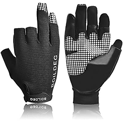 Fishing Gloves Outdoor Waterproof Non-slip Gloves with 3-Cut Fingers,Cut & Puncture Resistant for Hands,Silicone Chip Anti-Skid and Adjustable Velcro