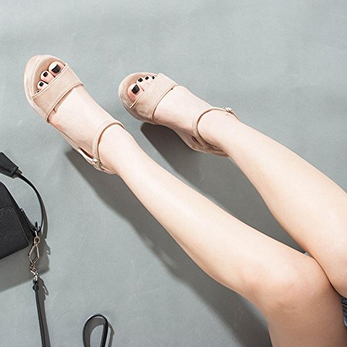 Materiale 009 Sandali Gomma di nude Smerigliato Piattaforma Donna XXYY color Tacco Donna Panno Suola 10cm Alta KJJDE Zeppa Slipsole WqXfXw0nB