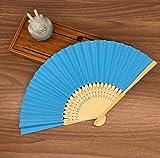 Blue Mulit Colors Paper Bamboo Folding Hand Fan Decoracion Fiestas Decoration Mariage Abanicos Para Boda