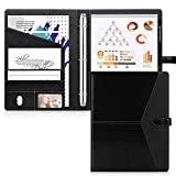 Toplive Padfolio 3 Ring Binder (1'' Round Ring) Business Portfolio Folder for Interview, Conference and Presentation, Black