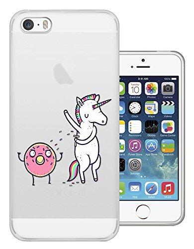 C0697 - Funny Cartoon Comic Shaving Unicorn Onto Donut Sprinkles Treat Design iphone 4 4S Fashion Trend Silikon Hülle Schutzhülle Schutzcase Gel Rubber Silicone Hülle