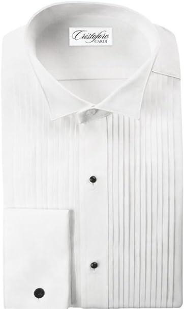 NEW Mens White Laydown//Spread Collar Pleated Tuxedo Shirt Wedding Prom ALL SIZES