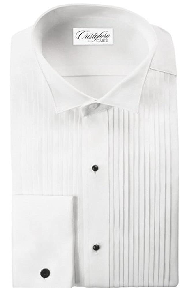 All Cotton White Wingtip Collar 1/4 Inch Pleats Tuxedo Shirt 4571