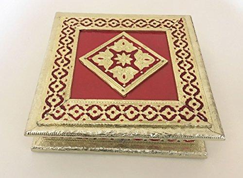 Indian Wedding gift box, dry fruit box, decorative box, snack box, mithai box, Meenakari Box. Size- 8