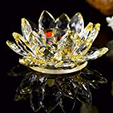 idreamtrader Crystal Lotus Flower Tealight Candle Holder With Gift Box (Yellow)