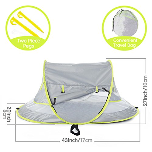 Micoo Baby Travel Tent, Portable Beach Pop Up Tent, Large Baby Travel Bed,UPF 50+ Sun Travel Cribs Bed, Mosquito Net and Sunshade, Lightweight Outdoor Travel Baby Crib Bed for Infant and Babies by Micoo (Image #2)