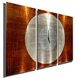 Statements2000 Large Contemporary Wall Clock with Orange, Silver & Copper Jewel Tone Fusion – Modern Metal Art Wall Home Accent – Hanging Wall Clock – Endless Time Clock By Jon Allen