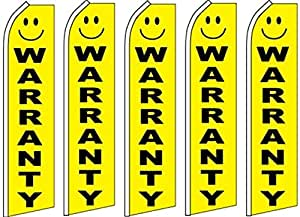 5 Swooper Flutter Flags WARRANTY Smiley Face Yellow Black