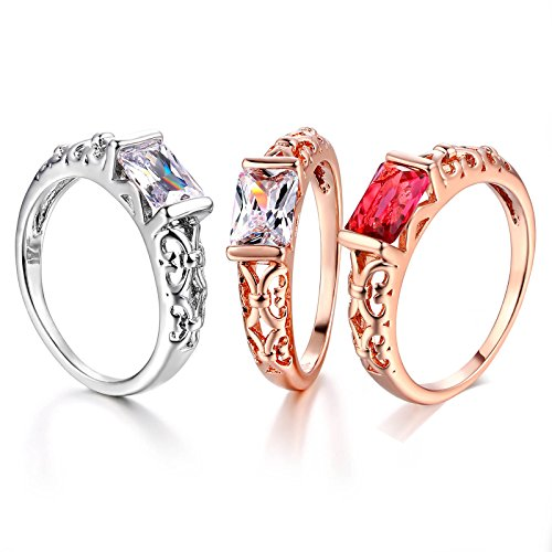 Amazon.com: JEWH Crystal Wedding Rings for Women - Rose Gold Color/Silver Tone Fashion Retro Engagement Ring Jewelry - Elegant Gorgeous Design for Women ...