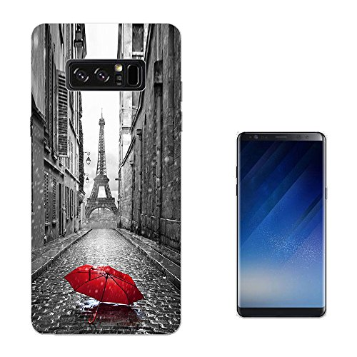002983 - Vintage Red Umbrella Paris France Eiffel Tower SAMSUNG Galaxy NOTE 8 CASE Gel Silicone All Edges Protection Case Cover (Umbrella Note)