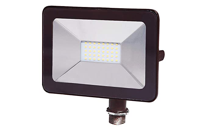ASD 30W LED Flood Light with Arm Mount 3000K (Warm Light), Slim SMD 1803lm Waterproof Outdoor Landscape, Bronze, ETL Listed & DLC Certified