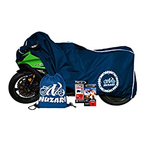 Premium Weather Resistant Motorcycle Cover. Waterproof High Grade Polyester w/Soft Screen, Heat Resistant Shield. Lockable fabric, Durable & Long Lasting.Fits Sport bike, Cruiser, Touring (Lg, navy)