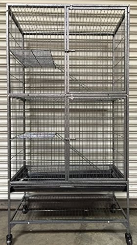 Cage Story Ferret - Mcage Extra Large Two Story Small Animal Cage for Feisty Ferret Chinchilla Rat Mice Squirrel Rabbit Sugar Glider with Stand, 1/2 Bar Spacing