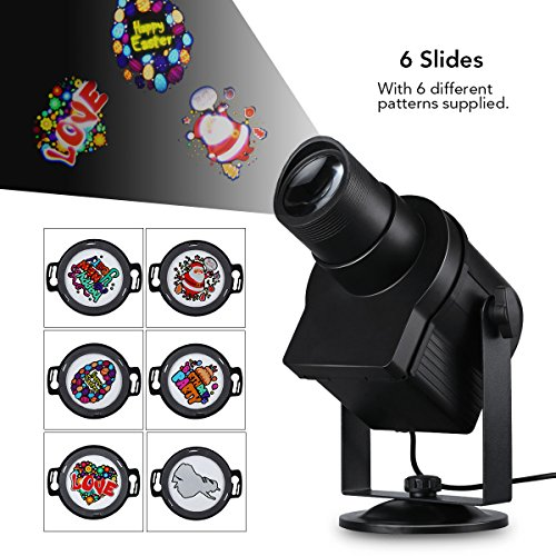 Led Christmas Light Projector Indoor  Outdoor Waterproof Diy Rotating Multicolor Slide 6Pcs Switchable Pattern Lens Motion Images Decoration Lighting For Christmas  Halloween Garden Path