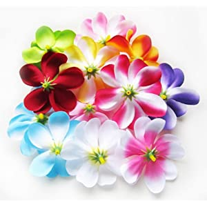 "(100) Assorted Hawaiian Plumeria Frangipani Silk Flower Heads - 3"" - Artificial Flowers Head Fabric Floral Supplies Wholesale Lot for Wedding Flowers Accessories Make Bridal Hair Clips Headbands Dress 8"