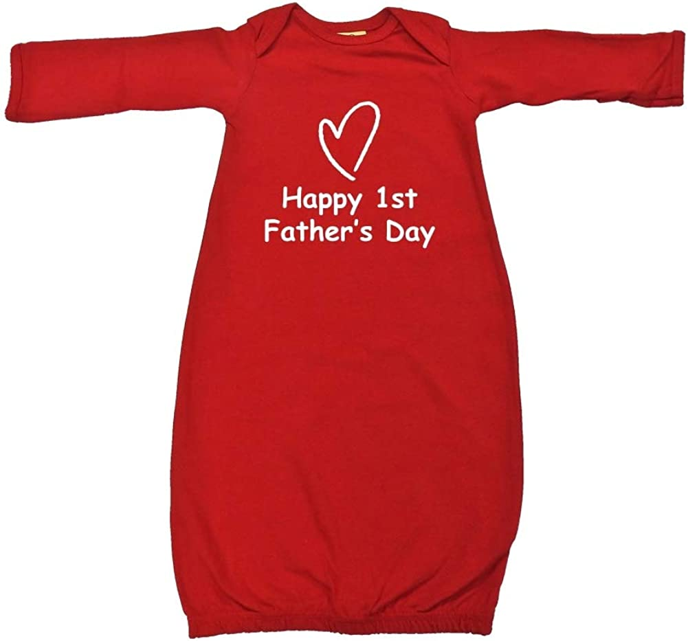 Mashed Clothing Happy 1st Fathers Day Heart Baby Cotton Sleeper Gown