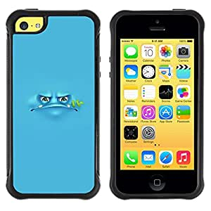 Suave TPU GEL Carcasa Funda Silicona Blando Estuche Caso de protección (para) Apple Iphone 5C / CECELL Phone case / / Blue Frog Cartoon Grumpy Monster /