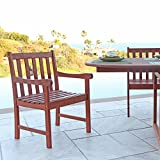 Vifah V415 Outdoor Wood Arm Chair, Natural Wood Finish, 22 by 25 by 35-Inch