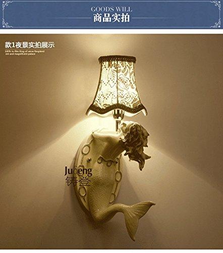 Lamp Angels Table Tiffany (Wall lamp Bracket Light Sconces European Style Living Room Creative Wall Bedroom Bedside lamp Jane-European Aisle Dressing Table Mermaid Wall lamp Gold)