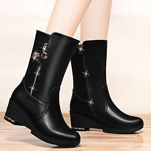 AJUNR-Zapatos De Mujer De Moda El Otoño Y El Invierno Las Laderas Con Europeos Y Americanos Las Botas Botas Hembra F Pendiente Con Botas Y Algodón Negro High-Heeled 39 37