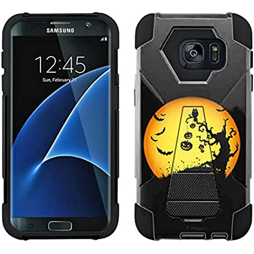Samsung Galaxy S7 Edge Hybrid Case Halloween Moon on Black 2 Piece Style Silicone Case Cover with Stand for Samsung Sales