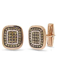1.45ct 14k Rose Gold White and Champagne Diamond Cuff Links
