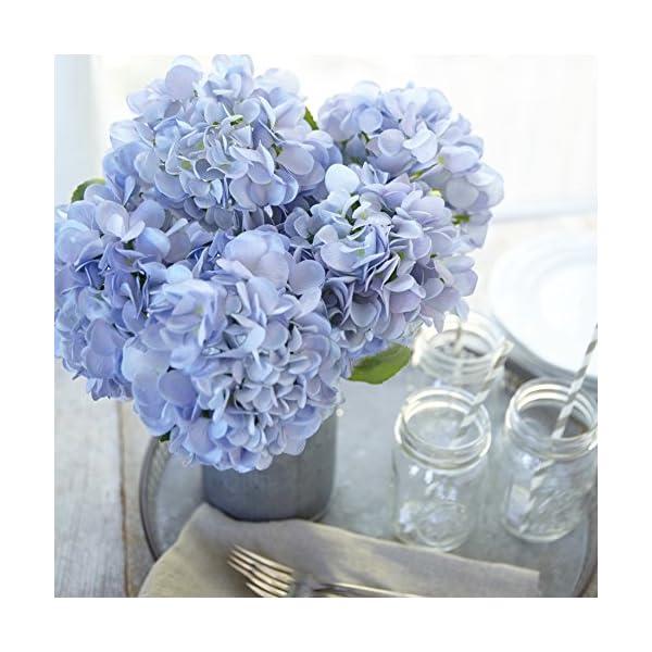 Butterfly Craze Artificial Hydrangea Silk Flowers for Wedding Bouquet, Flower Arrangements – Blue Color, 3 Stems Per Bundle