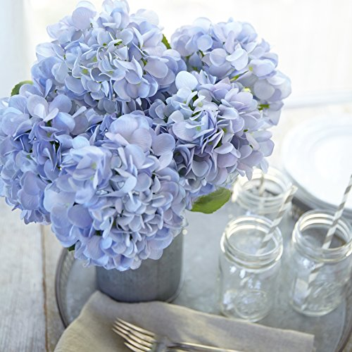 Butterfly Craze Artificial Hydrangea Silk Flowers for Wedding Bouquet, Flower Arrangements - Blue Color, 3 Stems Per Bundle