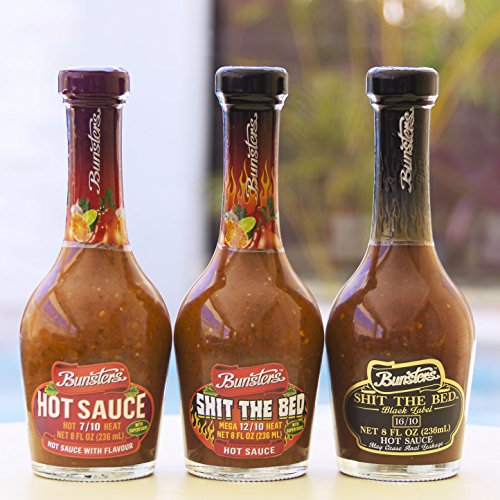 Bunsters Hot Chili Pepper Sauce - 3 Pack Set - Including Shit the Bed Hot Sauce, 8 fl oz by Bunsters (Image #2)'