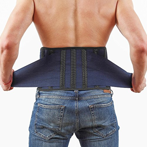 Back Support Lower Back Brace – provides Back Pain Relief – AVESTON Lumbar Support keeps your Spine Straight and Safe - Large size Belt for Women Men (Lumbar Support Sacral Belt)