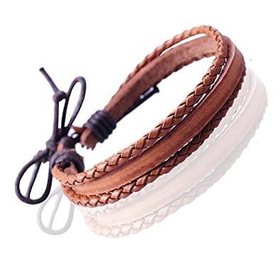 c06572446dc0 Gemini Unisex Surfer cordón de piel gruesa y trenzado pulsera del día de  San Valentín hombres