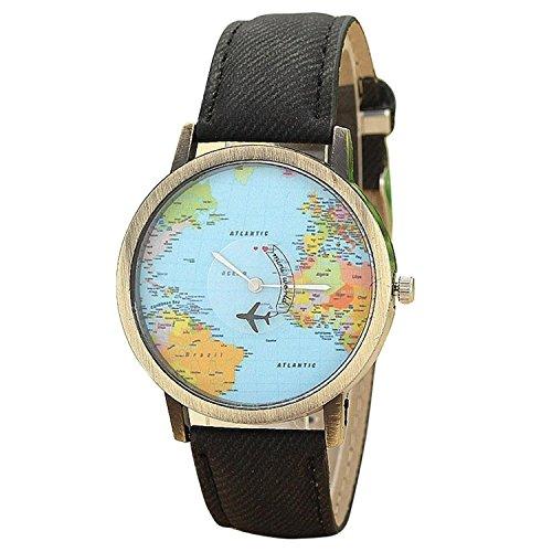 Unisex Retro Bronze Case Global Travel by Plane World Map PU Leather Band Quartz Watch Black