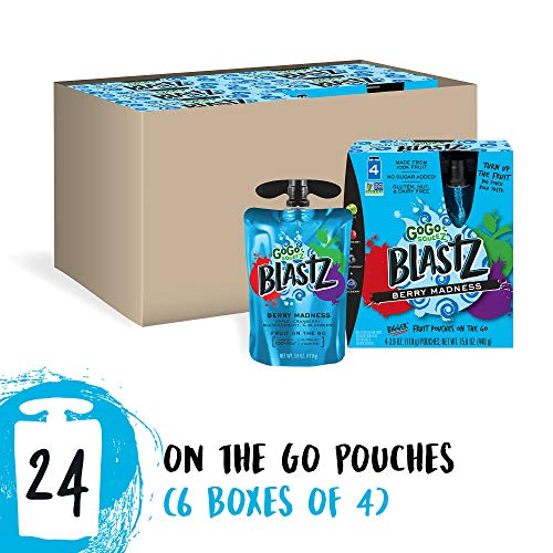 GoGo squeeZ BlastZ Fruit Pouches on the Go, Berry Madness, 3.88 Ounce (24 Pouches), Gluten Free, Vegan Friendly, Unsweetened, Recloseable, BPA Free Pouches  (Packaging May Vary)