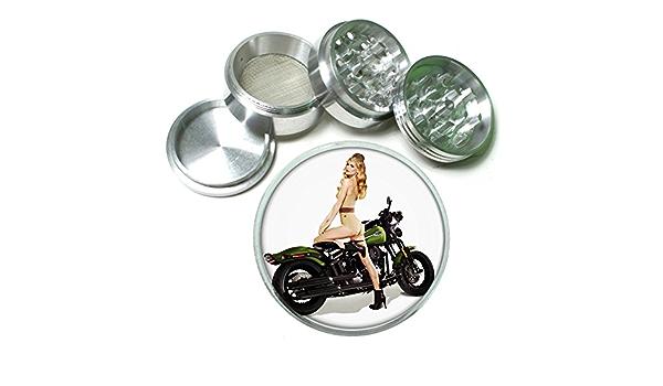 "63mm 2.5/"" 4 Pc Aluminum Sifter Magnetic Herb Grinder Pin Up Girl Design-003"
