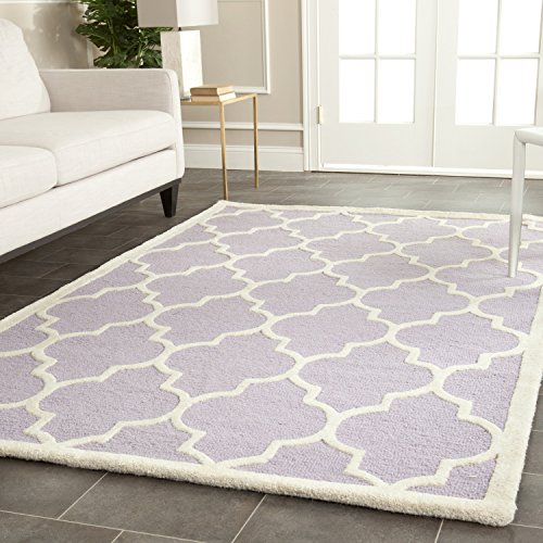 Safavieh Cambridge Collection CAM134C Handcrafted Moroccan Geometric Lavender and Ivory Premium Wool Area Rug (6' x 9') (Wool Nursery)